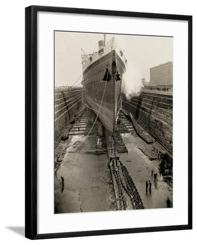 Majestic in Dry Dock-Edwin Levick-Framed Art Print