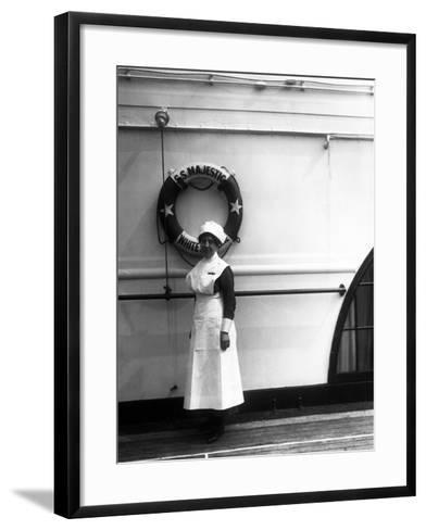Stewardess on the Majestic-Edwin Levick-Framed Art Print