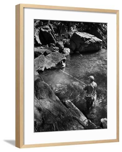Trout Fishing-A. Aubrey Bodine-Framed Art Print