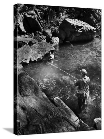 Trout Fishing-A. Aubrey Bodine-Stretched Canvas Print