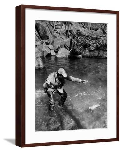Caught One!-A. Aubrey Bodine-Framed Art Print