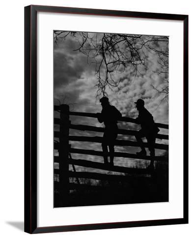 Hunters Crossing Fence-A. Aubrey Bodine-Framed Art Print