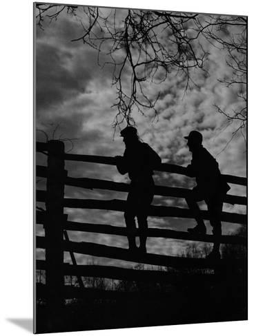 Hunters Crossing Fence-A. Aubrey Bodine-Mounted Photographic Print