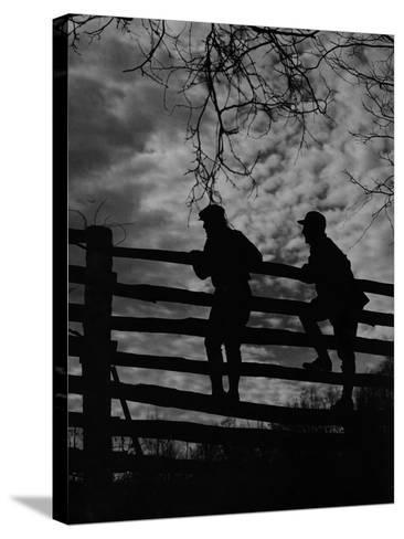 Hunters Crossing Fence-A. Aubrey Bodine-Stretched Canvas Print