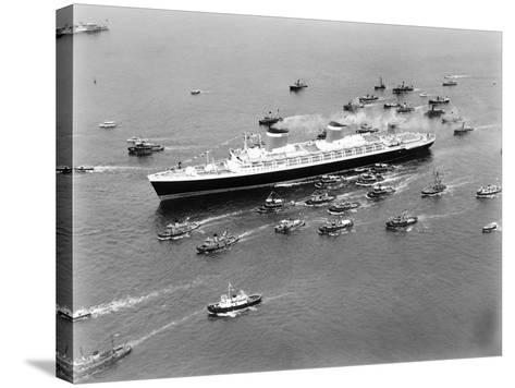 The S.S. United States in the New York Harbor--Stretched Canvas Print