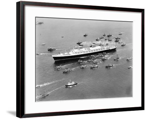 The S.S. United States in the New York Harbor--Framed Art Print