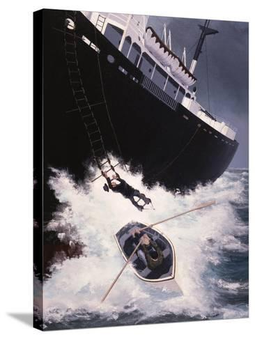 Boarding a Liberty Ship, 1947-Brian Hope-Stretched Canvas Print
