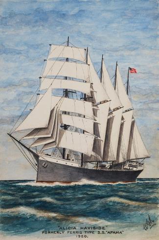 America Barkentine Alicia Haviside-William Gardham Larmour-Stretched Canvas Print