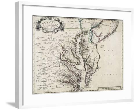 Map of Virginia and Maryland, 1719--Framed Art Print
