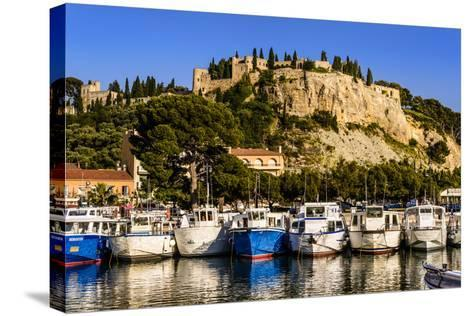 France, Provence, Bouches-Du-Rh™ne, Riviera, Cassis, Harbour with Castle-Udo Siebig-Stretched Canvas Print