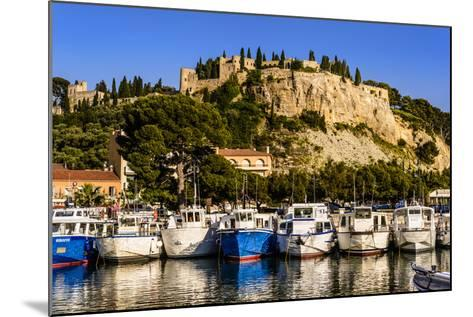 France, Provence, Bouches-Du-Rh™ne, Riviera, Cassis, Harbour with Castle-Udo Siebig-Mounted Photographic Print