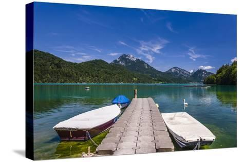 Austria, Salzburg Country, Salzkammergut, Fuschl Am See, Lake Fuschlsee, West Shore Against Stack-Udo Siebig-Stretched Canvas Print