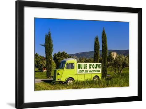 France, Provence, Vaucluse, Coustellet, Olive Mill, Pickup Van Citroen Type H, Advertising Vehicle-Udo Siebig-Framed Art Print