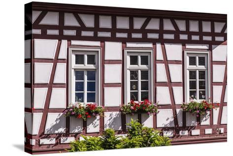 Germany, Hessen, Taunus, German Timber-Frame Road, Idstein, Kšnig-Adolf-Platz, Timber-Framed Facade-Udo Siebig-Stretched Canvas Print
