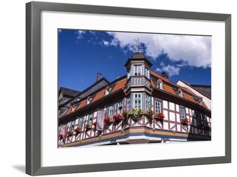 Germany, Hessen, Taunus, German Timber-Frame Road, Idstein, K?nig-Adolf-Platz, Timber-Framed Facade-Udo Siebig-Framed Art Print