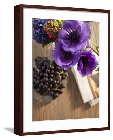 Flower, Anemone, Blossom, Grapes, Newspaper-Nikky Maier-Framed Art Print
