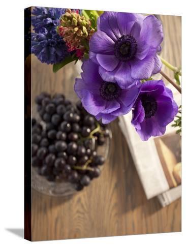 Flower, Anemone, Blossom, Grapes, Newspaper-Nikky Maier-Stretched Canvas Print