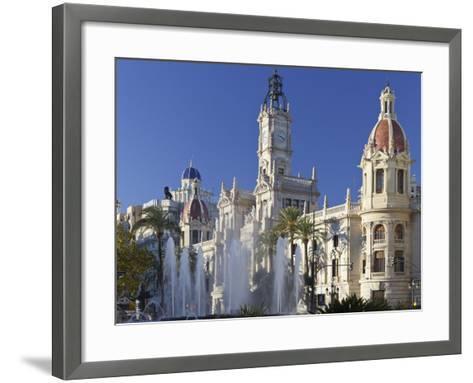 Spain, Valencia, Place De L'Ajuntament, City Hall, Well-Rainer Mirau-Framed Art Print
