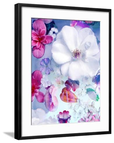 Pink and White Blossoms in Blue Water-Alaya Gadeh-Framed Art Print