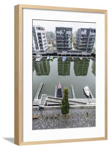 Germany, Hesse, Frankfurt Am Main, View to Residential Buildings at West Harbour-Bernd Wittelsbach-Framed Art Print