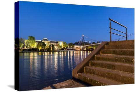 Frankfurt on the Main, Hesse, Germany, St?del with Holbeinsteg on the Frankfurt Museumsufer-Bernd Wittelsbach-Stretched Canvas Print
