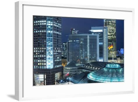 Frankfurt Am Main, Hesse, Germany, Evening Atmosphere over the Auditorium and the Fair Tower-Bernd Wittelsbach-Framed Art Print
