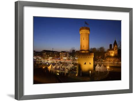 Germany, North Rhine-Westphalia, Christmas Fair in the Rheinauhafen with View at the Malakoff Tower-Andreas Keil-Framed Art Print