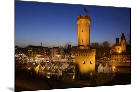Germany, North Rhine-Westphalia, Christmas Fair in the Rheinauhafen with View at the Malakoff Tower-Andreas Keil-Mounted Photographic Print