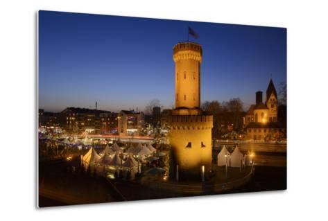 Germany, North Rhine-Westphalia, Christmas Fair in the Rheinauhafen with View at the Malakoff Tower-Andreas Keil-Metal Print