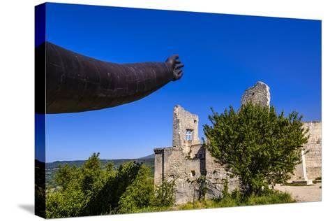 France, Provence, Vaucluse, Lacoste, Castle Ruin Lacoste, Sculpture with Hands-Udo Siebig-Stretched Canvas Print