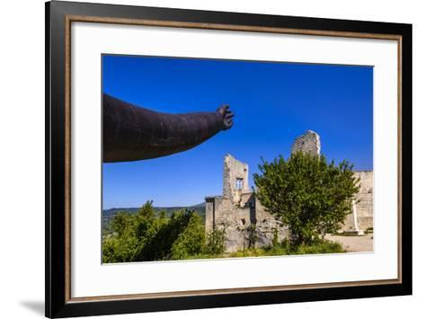 France, Provence, Vaucluse, Lacoste, Castle Ruin Lacoste, Sculpture with Hands-Udo Siebig-Framed Art Print