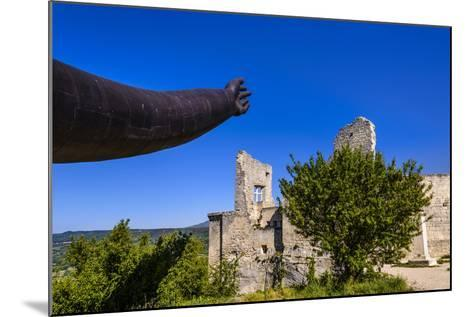 France, Provence, Vaucluse, Lacoste, Castle Ruin Lacoste, Sculpture with Hands-Udo Siebig-Mounted Photographic Print