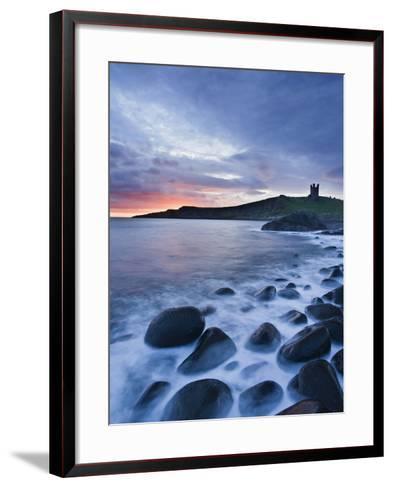 Great Britain, England, Northumberland, Dunstanburgh Castle, Sea, Stones, Dusk-Rainer Mirau-Framed Art Print