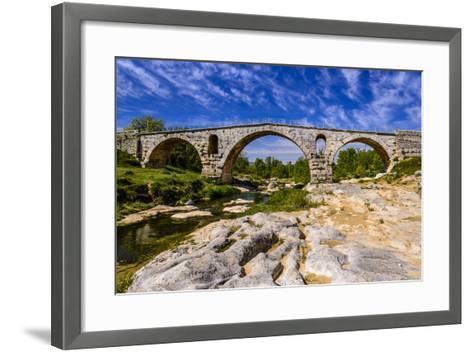 France, Provence, Vaucluse, Bonnieux, River Calavon, Roman Stone Arched Bridge Pont Julien-Udo Siebig-Framed Art Print