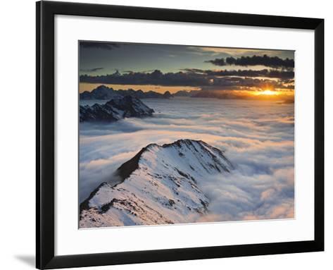 Italy, Lombardy, Stilfser Joch National Park, View from Monte Scorluzzo in Direction Engadin, Sun-Rainer Mirau-Framed Art Print