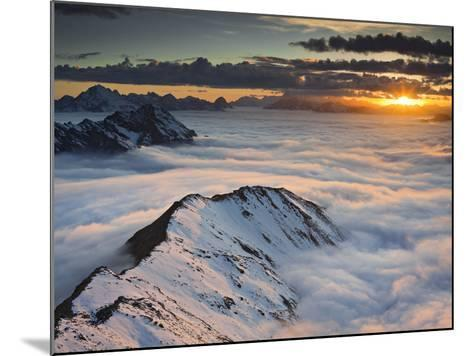 Italy, Lombardy, Stilfser Joch National Park, View from Monte Scorluzzo in Direction Engadin, Sun-Rainer Mirau-Mounted Photographic Print