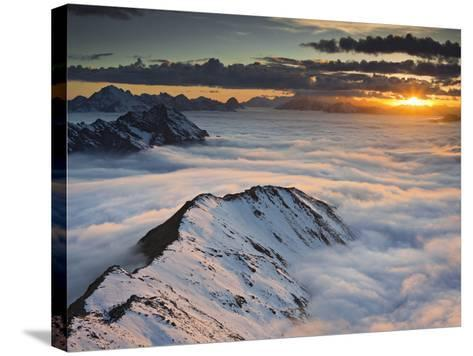 Italy, Lombardy, Stilfser Joch National Park, View from Monte Scorluzzo in Direction Engadin, Sun-Rainer Mirau-Stretched Canvas Print