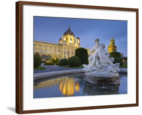 Austria, Vienna, 1st District, Museum of Art History, Well, Maria Theresia Monument, Evening-Rainer Mirau-Framed Art Print