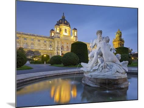 Austria, Vienna, 1st District, Museum of Art History, Well, Maria Theresia Monument, Evening-Rainer Mirau-Mounted Photographic Print