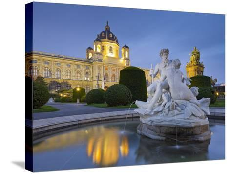 Austria, Vienna, 1st District, Museum of Art History, Well, Maria Theresia Monument, Evening-Rainer Mirau-Stretched Canvas Print