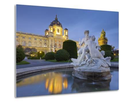 Austria, Vienna, 1st District, Museum of Art History, Well, Maria Theresia Monument, Evening-Rainer Mirau-Metal Print