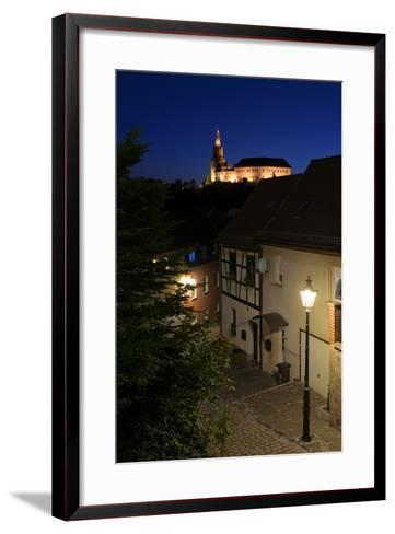 Germany, Thuringia, Weida, Night Shot, the Castle Osterburg Above the Alleys of the Old Town-Andreas Vitting-Framed Art Print