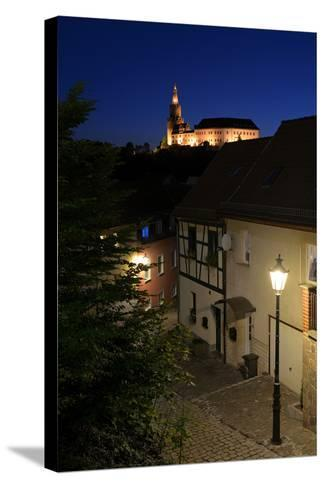 Germany, Thuringia, Weida, Night Shot, the Castle Osterburg Above the Alleys of the Old Town-Andreas Vitting-Stretched Canvas Print
