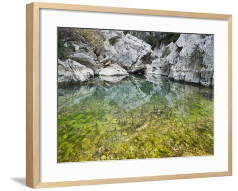 Spain, Majorca, Serra De Tramuntana, Sat. Calobra, Torrent De Par Ice, Water Water Basin, Algae-Rainer Mirau-Framed Art Print
