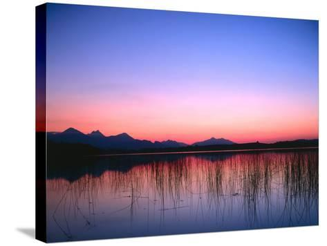 Lake, Mountains, Afterglow-Thonig-Stretched Canvas Print
