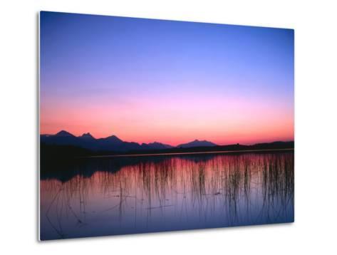 Lake, Mountains, Afterglow-Thonig-Metal Print