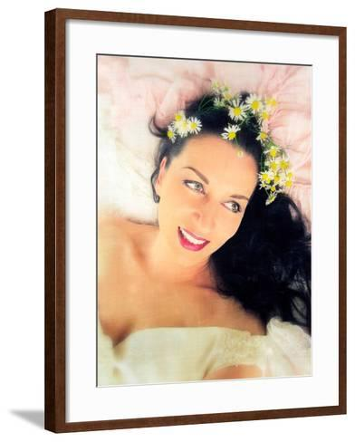 Woman with White Dress and Flowers in Her Hair-Alaya Gadeh-Framed Art Print