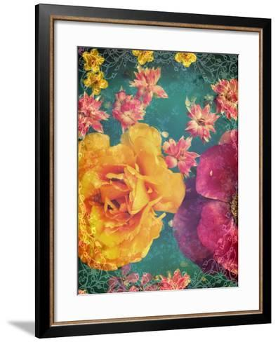 Poeny and Tulip Swimming in Blue Green Water with Green and Other Entchanting Blossoms-Alaya Gadeh-Framed Art Print