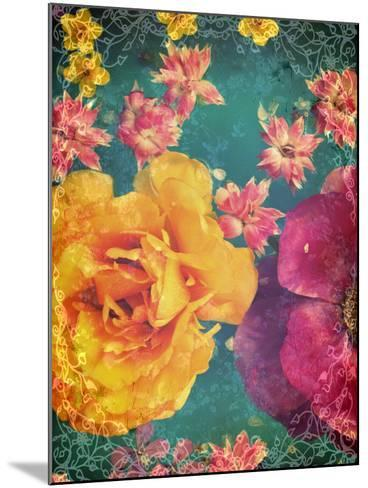 Poeny and Tulip Swimming in Blue Green Water with Green and Other Entchanting Blossoms-Alaya Gadeh-Mounted Photographic Print