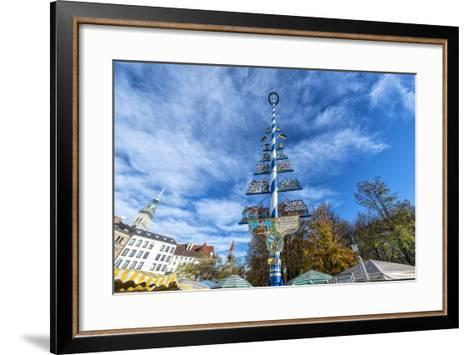 Munich, Bavaria, Germany, Maypole at the Viktualienmarkt (Food Market) in Autumn-Bernd Wittelsbach-Framed Art Print